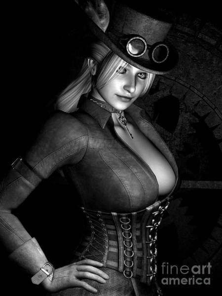 Babe Digital Art - Steamy Steampunk Bw by Alexander Butler