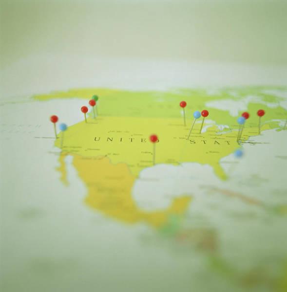 Usa Map Photograph - Stickpins Marking Cities On Map, Surface Level by Walter B. McKenzie
