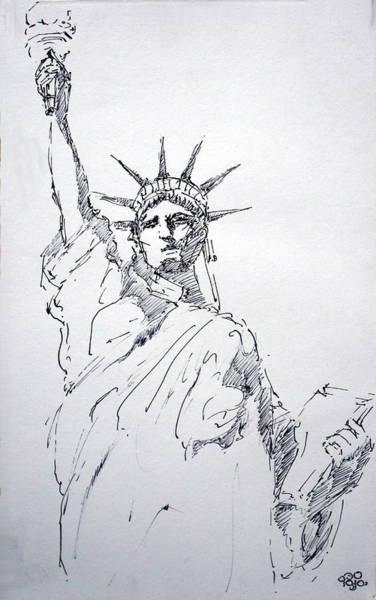 Land Mark Drawing - Still Life 45 - Statue Of Liberty by Mohd Raza-ul Karim