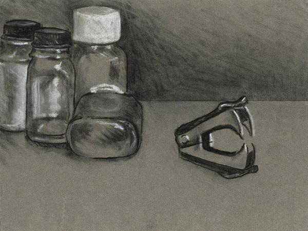 Drawing - Still Life With Bottles by David Kleinsasser