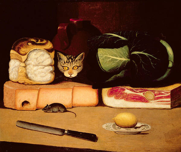 Bacon Wall Art - Painting - Still Life With Cat And Mouse by Anonymous