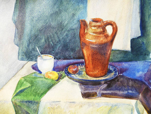 Painting - Still Life With Cup And Coffeepot  by Irina Sztukowski