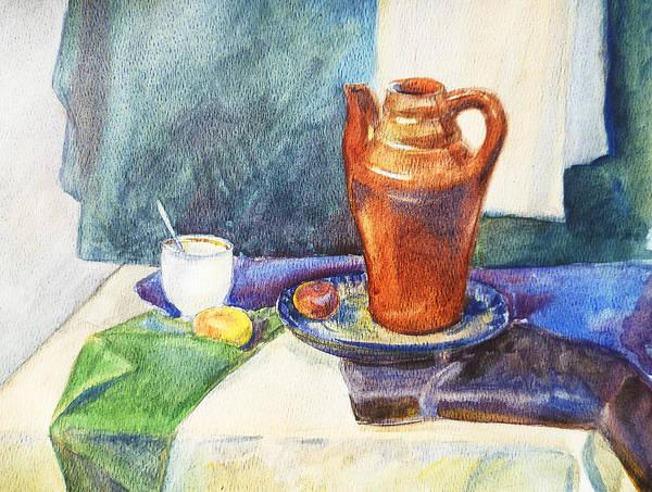 Wall Art - Painting - Still Life With Cup And Coffeepot  by Irina Sztukowski