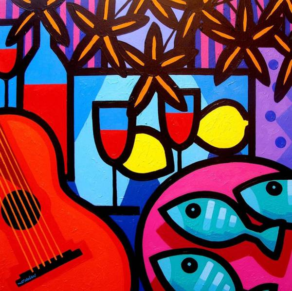 Wall Art - Painting - Still Life With Guitar And Fish by John  Nolan