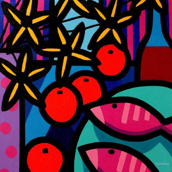 Wall Art - Painting - Still Life With Magenta Fish by John  Nolan
