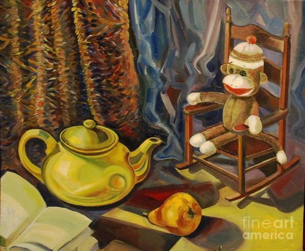 Sock Monkey Drawing - Still Life With Sock Monkey by Talia Prilutsky