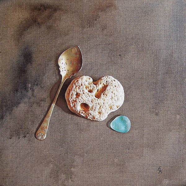 Painting - Still Life With Teaspoon And Heart Stone by Elena Kolotusha