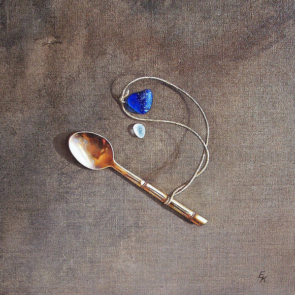 Painting - Still Life With Teaspoon And Sea Glass by Elena Kolotusha