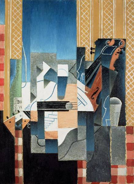 Wall Art - Painting - Still Life With Violin And Guitar by Juan Gris