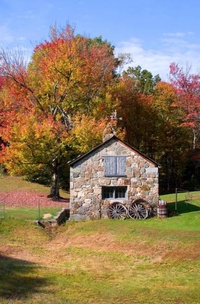Photograph - Stone Shed Autumn by Larry Landolfi