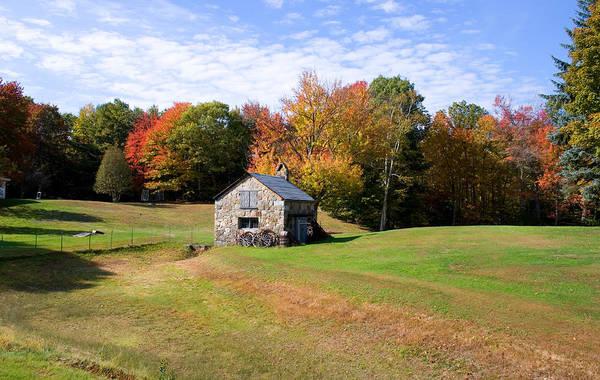 Photograph - Stone Shed Wide Autumn by Larry Landolfi