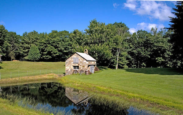 Photograph - Stone Shed Wide Summer by Larry Landolfi