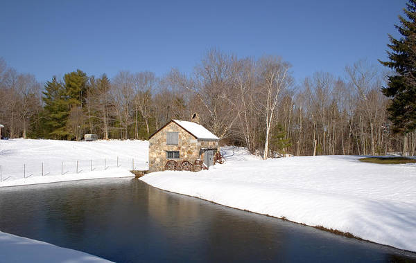 Photograph - Stone Shed Wide Winter by Larry Landolfi
