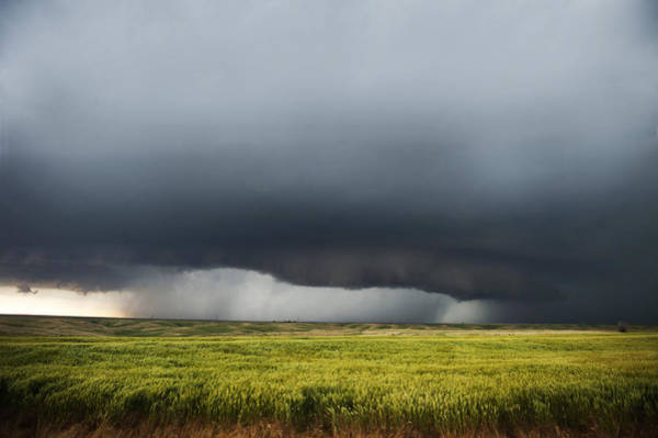 Shelf Cloud Photograph - Storm And Rain Over Green Field by Jennifer Brindley