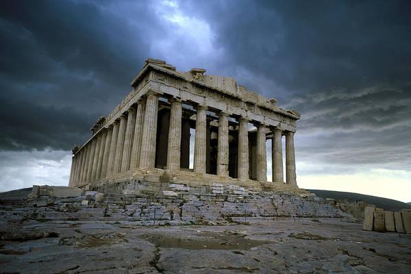 Storm Over The Parthenon Art Print