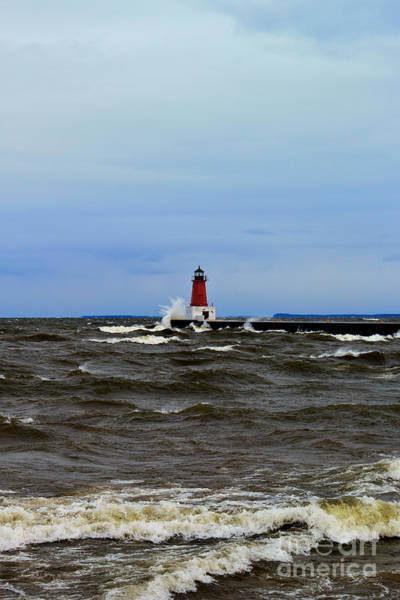 Photograph - Storm Sandy Effects Menominee Lighthouse by Ms Judi