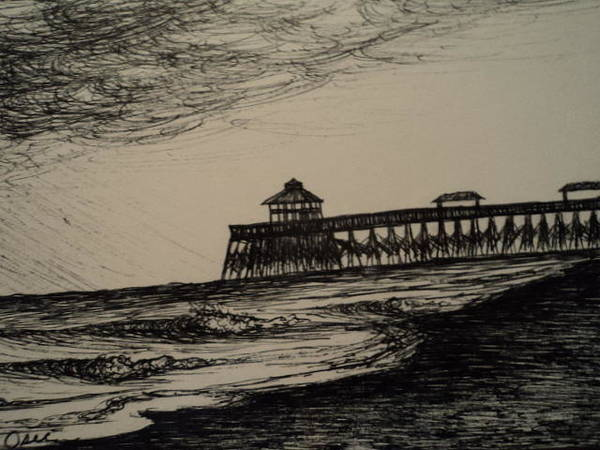 South Beach Drawing - Stormy Pier by Osee Koger