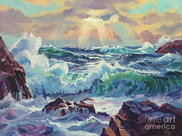 Painting - Stormy Sea Rockaway Beach by David Lloyd Glover
