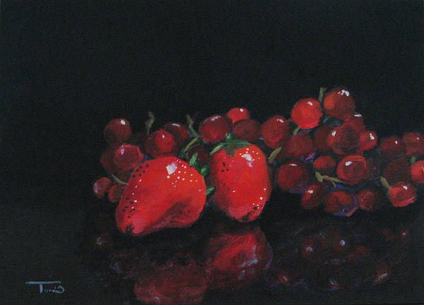 Wall Art - Painting - Strawberries And Grapes by Torrie Smiley