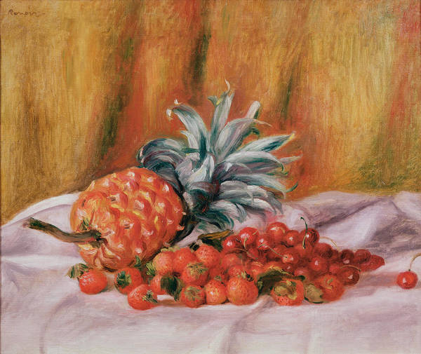 Strawberry Painting - Strawberries And Pineapple by Pierre Auguste Renoir