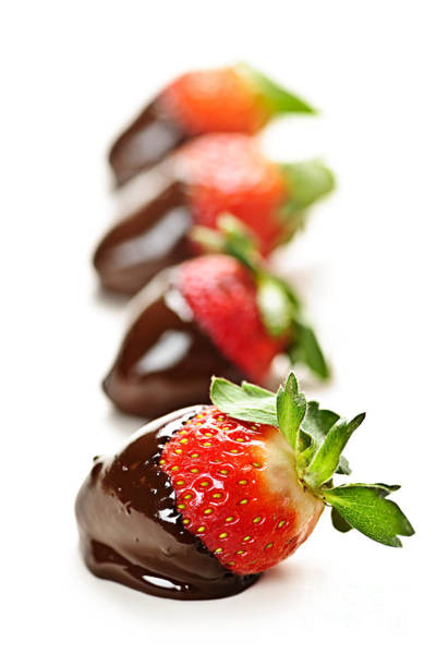 Wall Art - Photograph - Strawberries Dipped In Chocolate by Elena Elisseeva