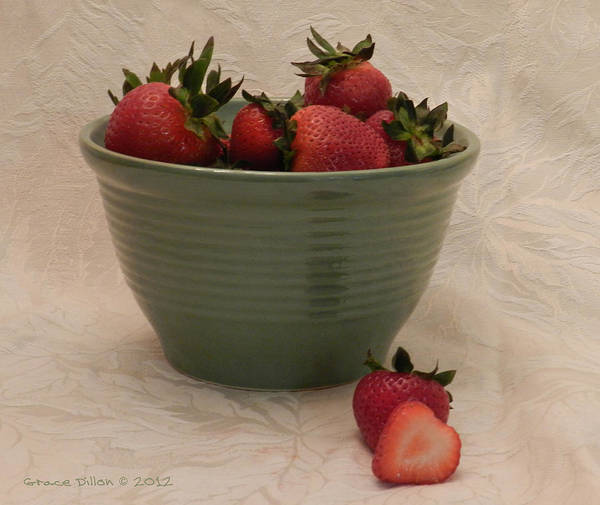 Photograph - Strawberries In Green Bowl by Grace Dillon