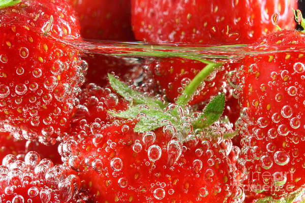 Wall Art - Photograph - Strawberries In Water Close Up by Simon Bratt Photography LRPS