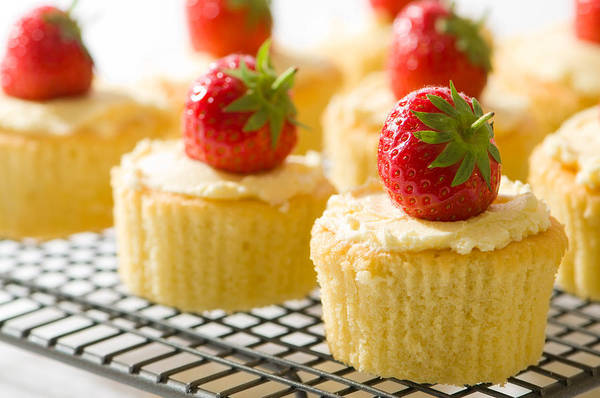 Wall Art - Photograph - Strawberry Cupcakes by Amanda Elwell