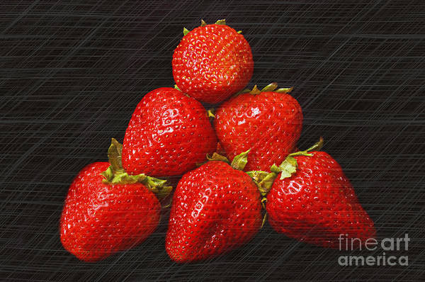 Photograph - Strawberry Pyramid On Black by Andee Design