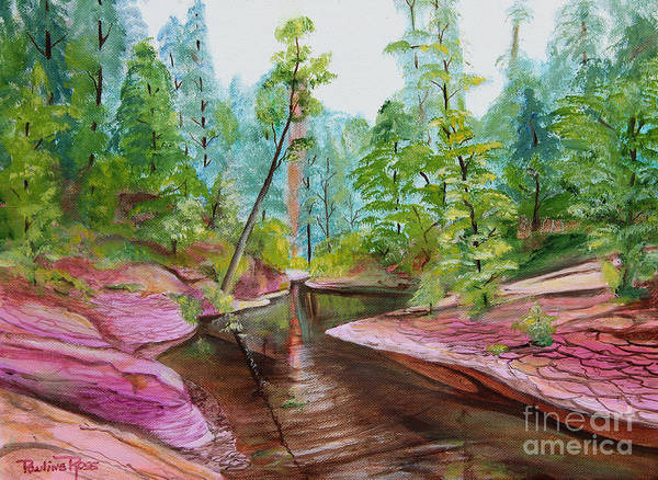 Wall Art - Painting - Streams Of Pink by Pauline Ross