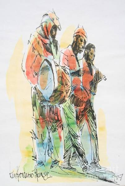 African Dance Painting - Street Band by Carey Chen