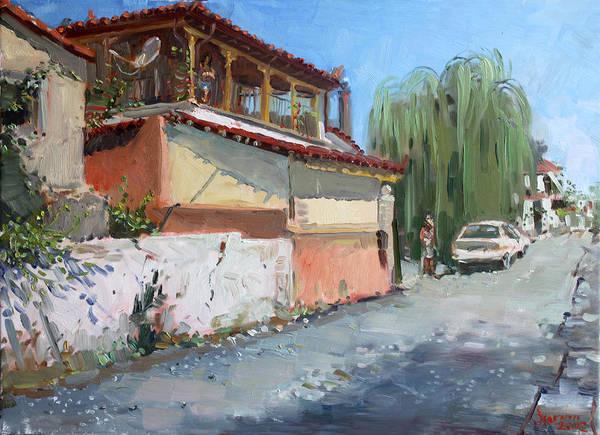 School Painting - Street In A Greek Village by Ylli Haruni
