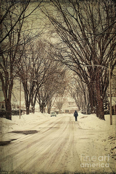 Photograph - Street In Winter With Person Walking by Sandra Cunningham