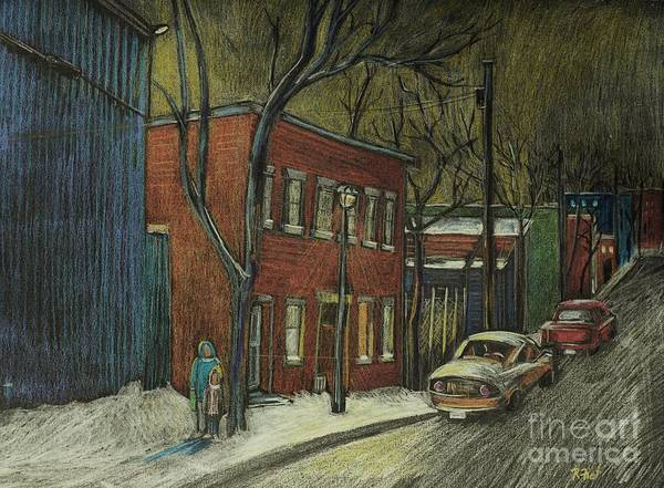 Montreal Street Scene Wall Art - Drawing - Street Scene In Pointe St. Charles by Reb Frost