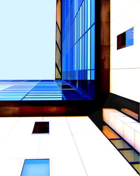 Non Representational Painting - Street View Of High Rise Building by Elaine Plesser