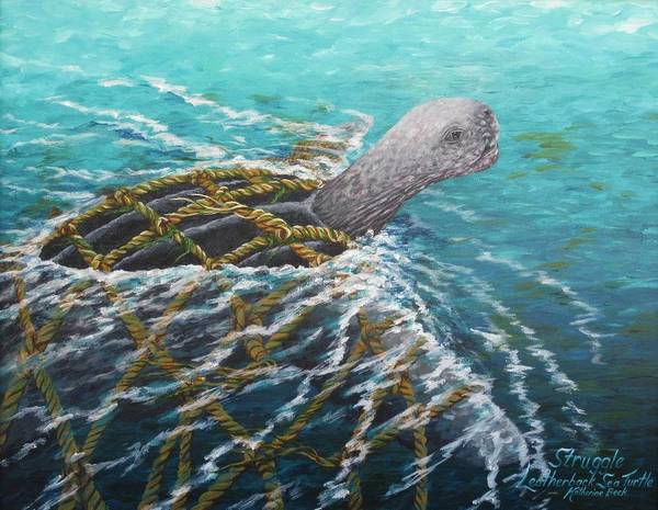 Wall Art - Painting - Struggle -leatherback Sea Turtle by Katherine Young-Beck