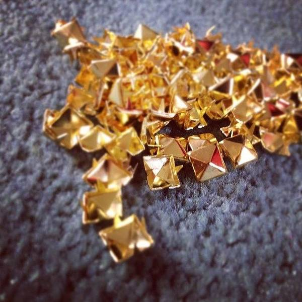 Grace Wall Art - Photograph - #studs #pyramid #gold #focus #customise by Grace Shine