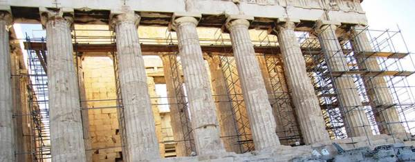 Photograph - Stunning Acropolis Parthenon Architectural Pillars And Scaffolding In Athens Greece by John Shiron