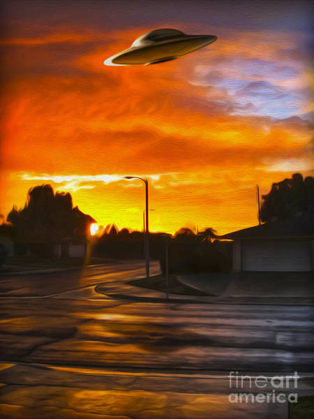 Painting - Suburban U.f.o. Sighting  by Gregory Dyer