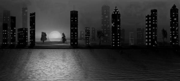 Digital Art - Summer In The City - Bw by David Dehner