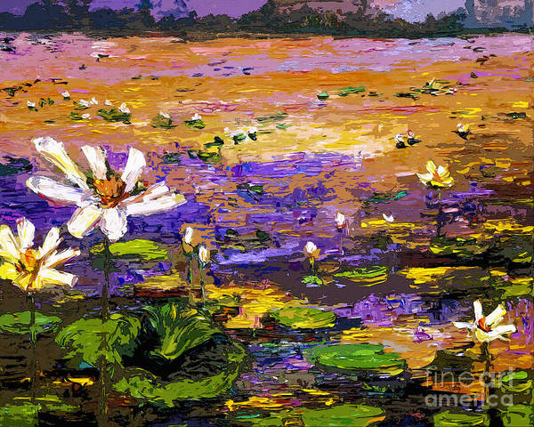 Mixed Media - Summer Lotus Pond Impressionist Mixed Media Art by Ginette Callaway