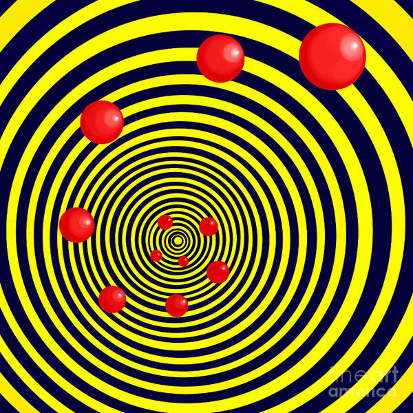 Digital Art - Summer Red Balls With Yellow Spiral by Christopher Shellhammer