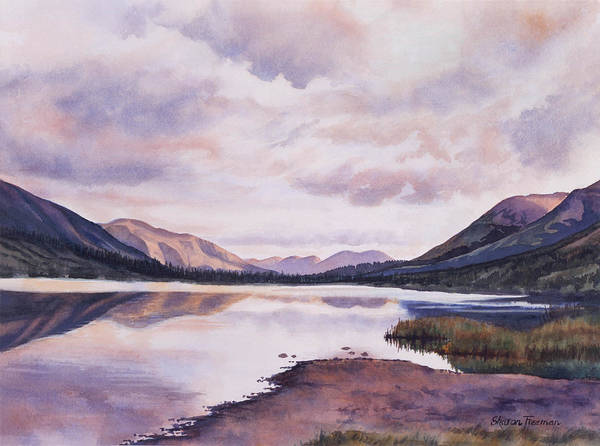 Lake Wall Art - Painting - Summit Lake Evening Shadows by Sharon Freeman