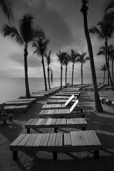 Photograph - Sun Bathing Benches At A Resort On Key Islamorada by Randall Nyhof