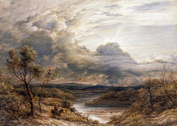 Moorland Wall Art - Painting - Sun Behind Clouds by John Linnell