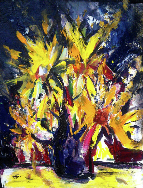 Painting - Sun Flower Night by John Jr Gholson