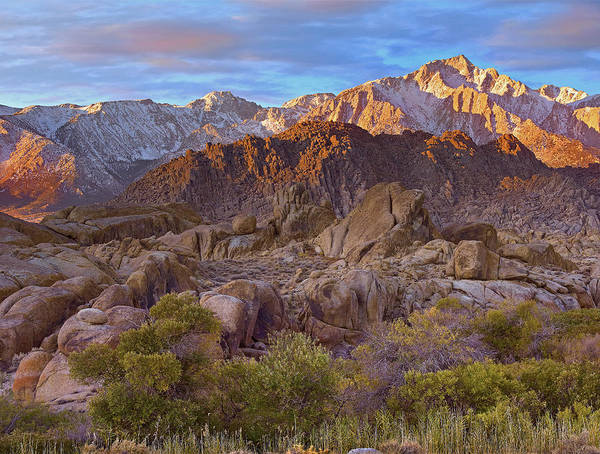 Sierra Nevada Mountains Photograph - Sun Illuminating The Alabama Hills by Tim Fitzharris
