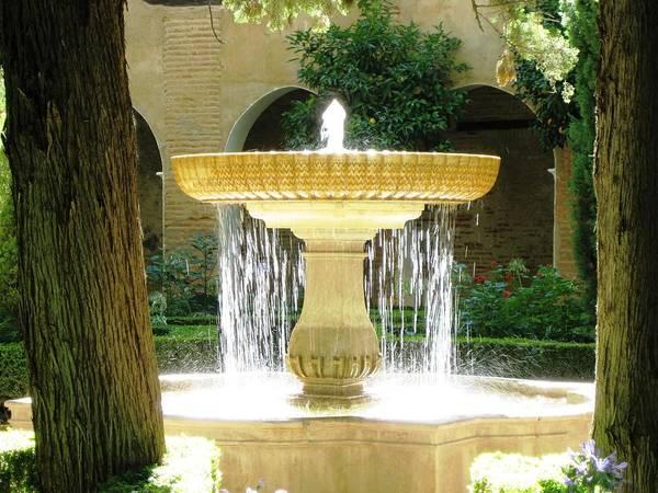 Photograph - Sun Lit Water Fountain Granada Spain by John Shiron
