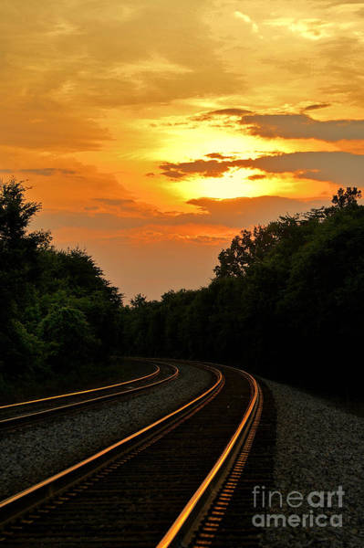 Railroad Tie Wall Art - Photograph - Sun Reflecting On Tracks by Benanne Stiens