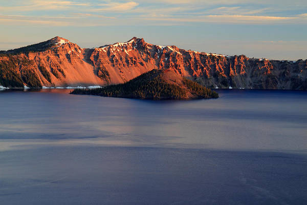 Photograph - Sun Rising At Crater Lake National Park by Pierre Leclerc Photography